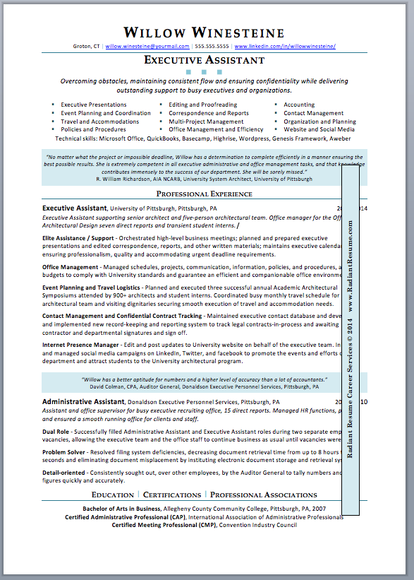 Executive Assistant. This Sample Resume ...  Sample Resume Outline