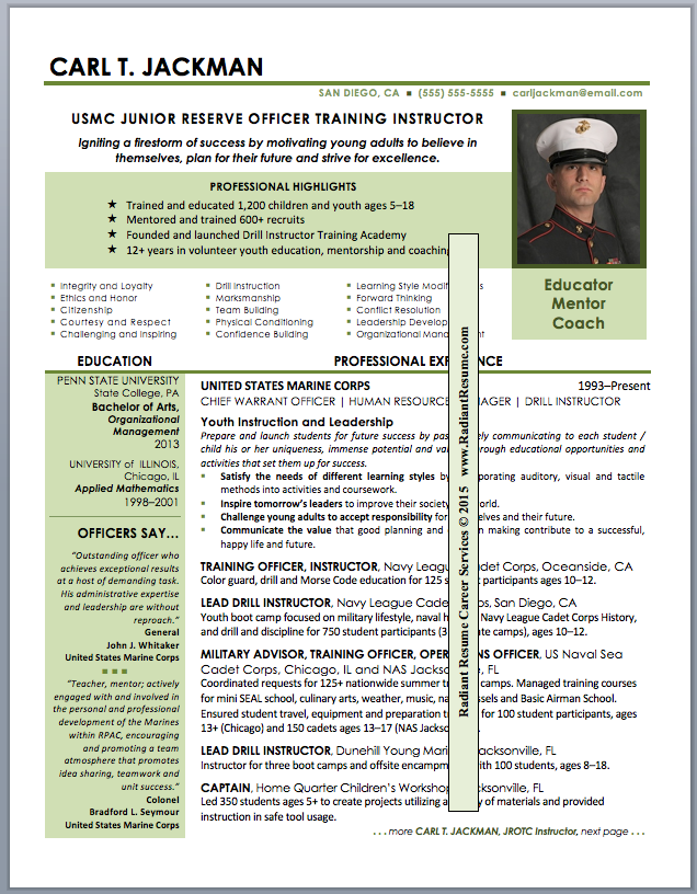Sample military resume roho4senses sample military resume yelopaper Images