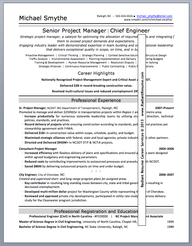 Sr. Project Manager Resume Sample  Sample Resume Outline